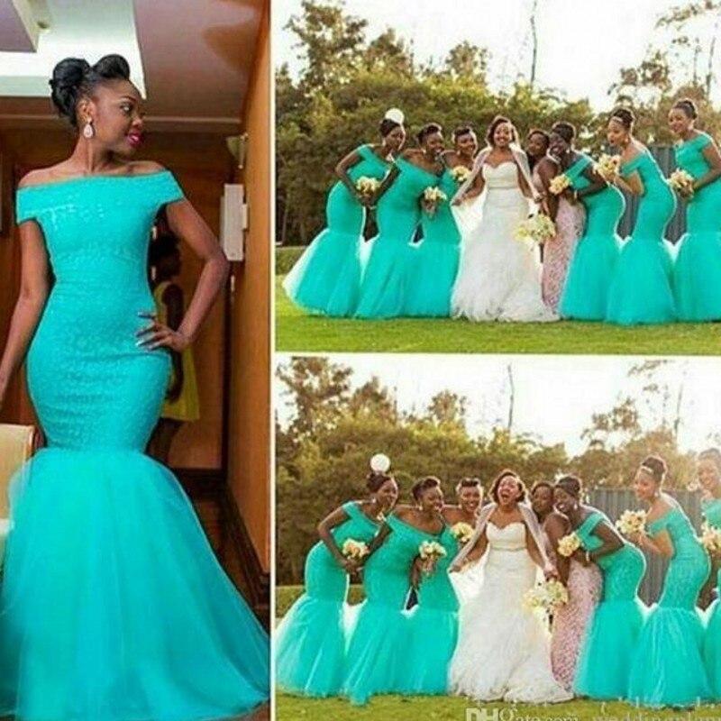 Aqua Blue Bridesmaid Dress Mermaid 2017 Vestido De Festa Casamento Long Bridesmaid Dresses Cheap Lace Bridesmaid Gown Sleeves