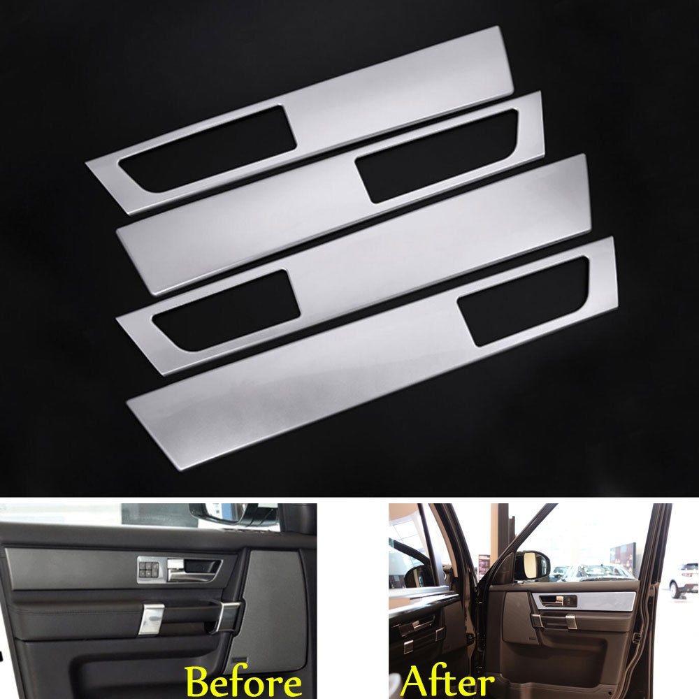 4pcs/set Silver Car Interior Door Handle Panel Decorate Covers Trim Decal Fit for Land Rover Discovery 4 Car Styling Accessories car abs matte chrome center console panel molding trim for land rover discovery 4 2010 2016 accessories car styling