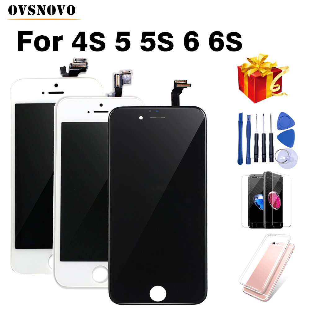 Noir/Blanc Assemblée LCD Affichage Digitizer pour iPhone 4S AAA Qualité LCD Écran Tactile pour iPhone 6 5S avec petites Pièces bateau Libre