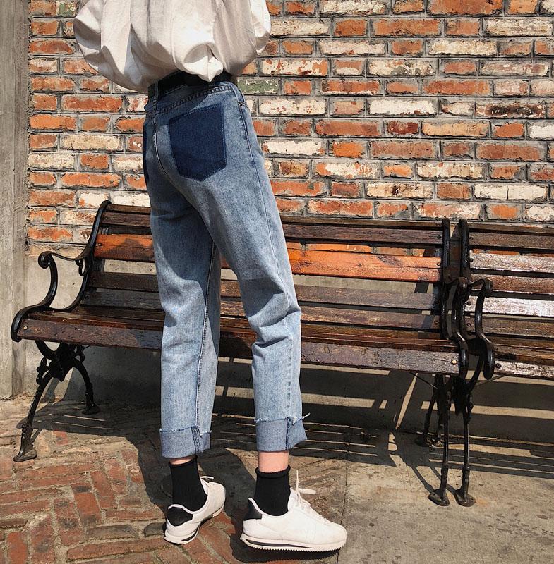 Dobladillo De Pantalones Vintage Alta Para Escuela Chica Denim Bolsillo Verano Lavado Primavera Moda Cintura Trasero Chicas Falso Pengpious Jeans n4vH6qTPxw