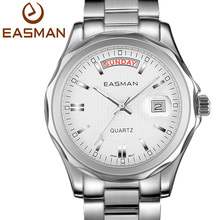 EASMAN Mens Watches Full Stainless Steel Day Date Dispaly Waterproof Business Dress Japan Quartz Watch For Men Wristwatches