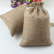 100pcs Vintage Natural Burlap Hessia Gift Candy Bags Wedding Party Favor Pouch Birthday Supplies Drawstrings Jute Gift Bags