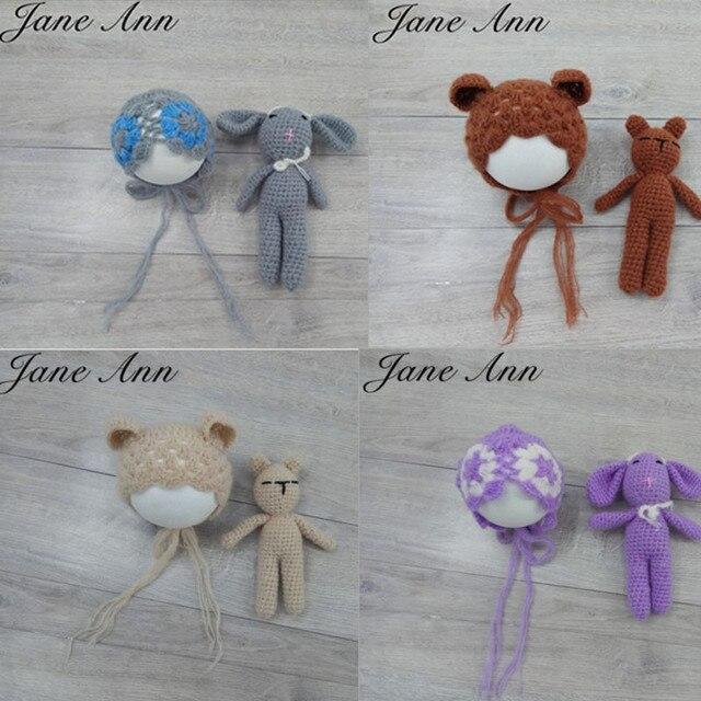 Jane Z Ann Newborn baby photography prop knit animal sleep lamb bear hat+doll  handmade studio shoot photography shower gift 5f2da8792e56