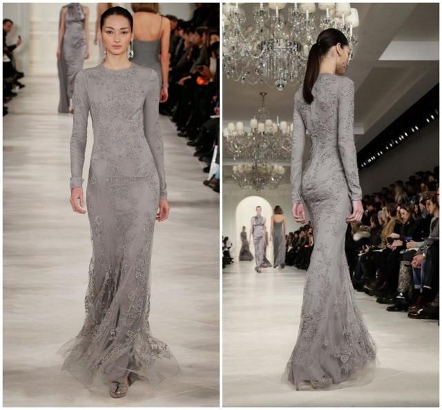 d06d1c168d9 2015 New Arrival Fall Zuhair Murad Long Sleeve Runway Grey Lace Evening  Dresses Women Floor Length