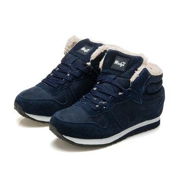 Популярные женские ботинки, теплые зимние ботинки, ботильоны на меху со шнуровкой, женская зимняя обувь, цвет черный, синий, Botas Mujer
