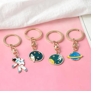 Keychain Key-Ring Craft Escape Planet Rocket Spaceman Astronaut Stars Universe Enamel