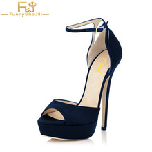 Shoes Woman Ankle Strap High Heels Sandals Navy Peep Toe Blue Red Black  Pumps Buckle Sexy 40d45ff2ed40