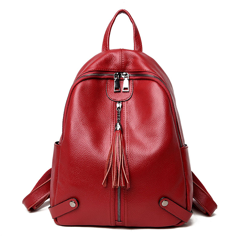 Shoulder bag women's head layer leather soft leather bag 2018 new stylish versatile Korean travel backpack stylish women s solid color pleated culotte