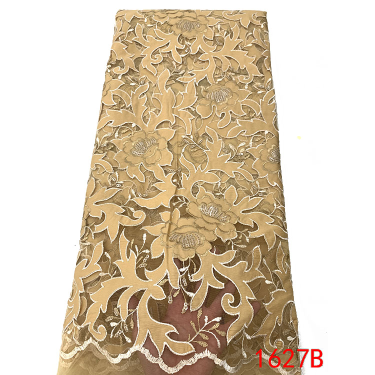 Gold african lace dresses latest fabrics french lace 2019 high quality fashion lace fabric QF1627B