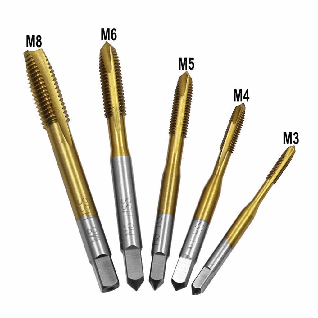 M3/M4/M5/M6/M8 HSS metryczny prosty rowek śruba gwintowana z kranu wtyczka wiertło do gwintowania bity wiertarka ręczna narzędzie do gwintowania zestaw
