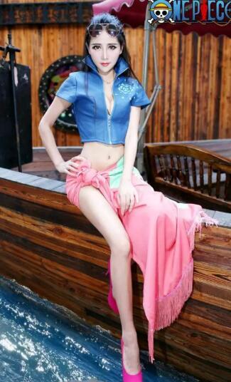 Amine une pièce Nico Robin Cosplay Costume Miss Allsunday bleu manteau et jupe