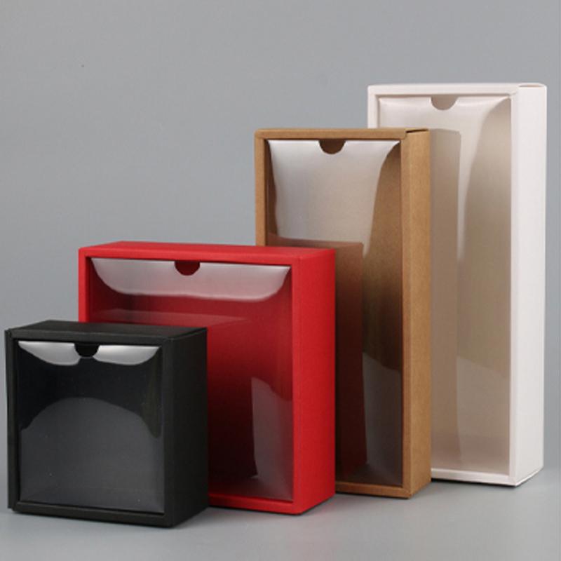 10pcs Clear Pvc Lid Red White Black Kraft Paper Box