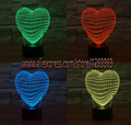 Love Heart home bombilla decoración regalo 7 Interruptor Táctil Luz de La Noche 3D Colorido Estado de Ánimo de Color Niños Salón Dormitorio Mesa lámpara
