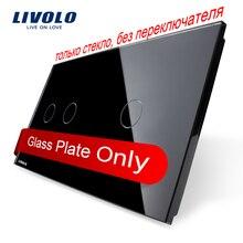 Livolo lujo perla negro, sólo Vidrio 151mm * 80mm, estándar de LA UE, doble Panel De Vidrio 2 + 1 gang, VL-C7-C2/C1-12