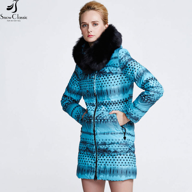 Snowclassic Real Fox Gola de Pele Das Mulheres Casacos de Inverno 2016 de Pato Para Baixo Mulheres Jaqueta Parka Para Baixo Mulheres Casaco 12392a