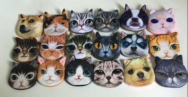Super BONITO 3D Animais-Gato Coin Purse BAG, 10 CM Cães Plush Coin Bolsas Carteira Bolsa Pequena Bolsa; bolsa de moeda gato monedero