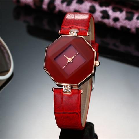 high-quality 2017 new 5color jewelry watch fashion gift table women Watches Jewel gem cut black geometry quartz wristwatches Karachi