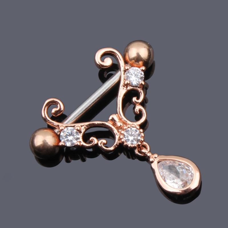 1//2pcs Jewelry Surgical Steel Nest Nipple Shields Bar Navel Ring Body Piercing