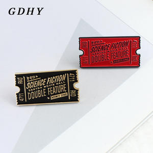 GDHY Brooch Science-Fiction Rocky Horror Movie Ticket Enamel-Pins Jewelry Black Red Double-Feature