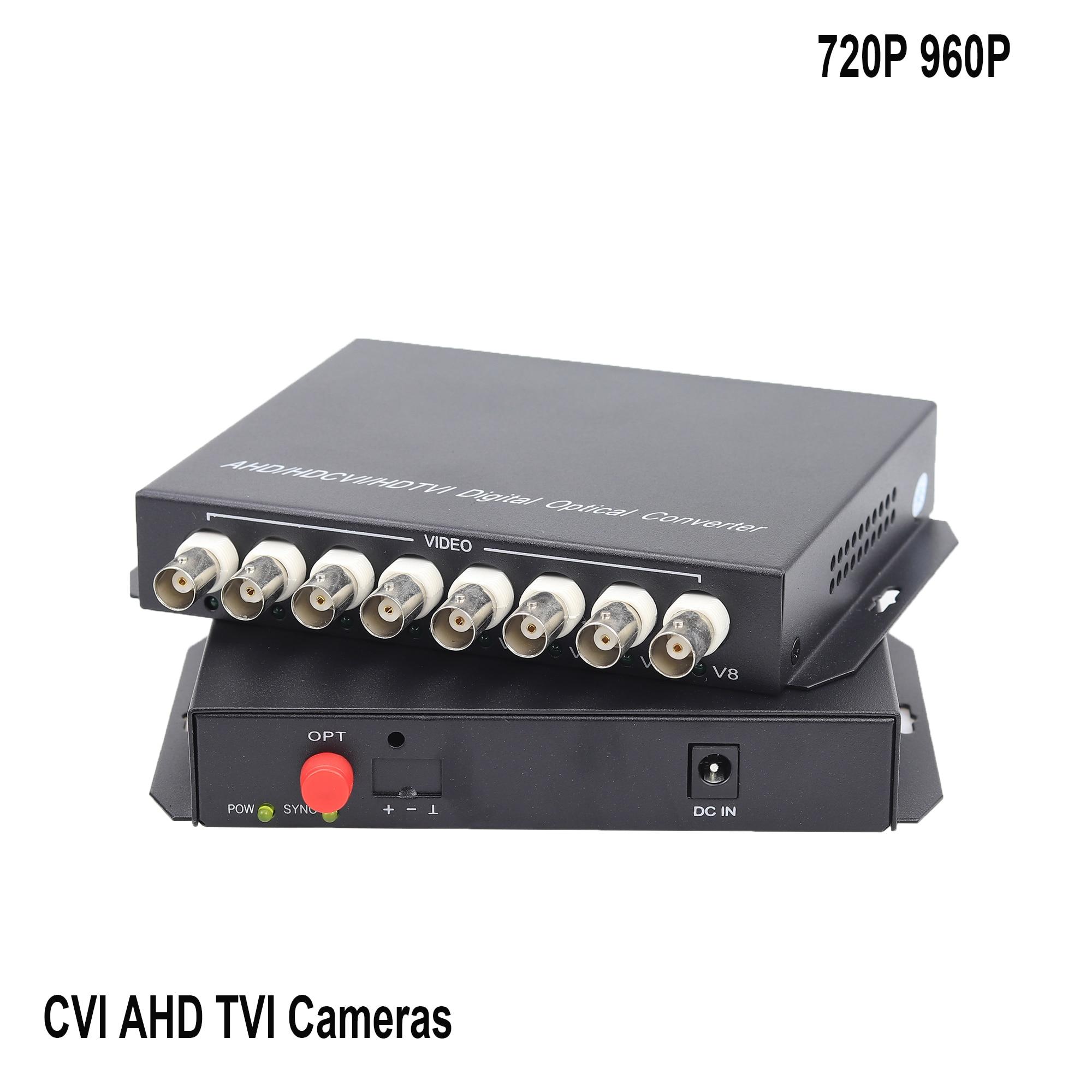8 CH 960P HD Video AHD CVI TVI Fiber Optical Converter Video FC Optical Transmitter Receiver Hikvision Dahua Camera
