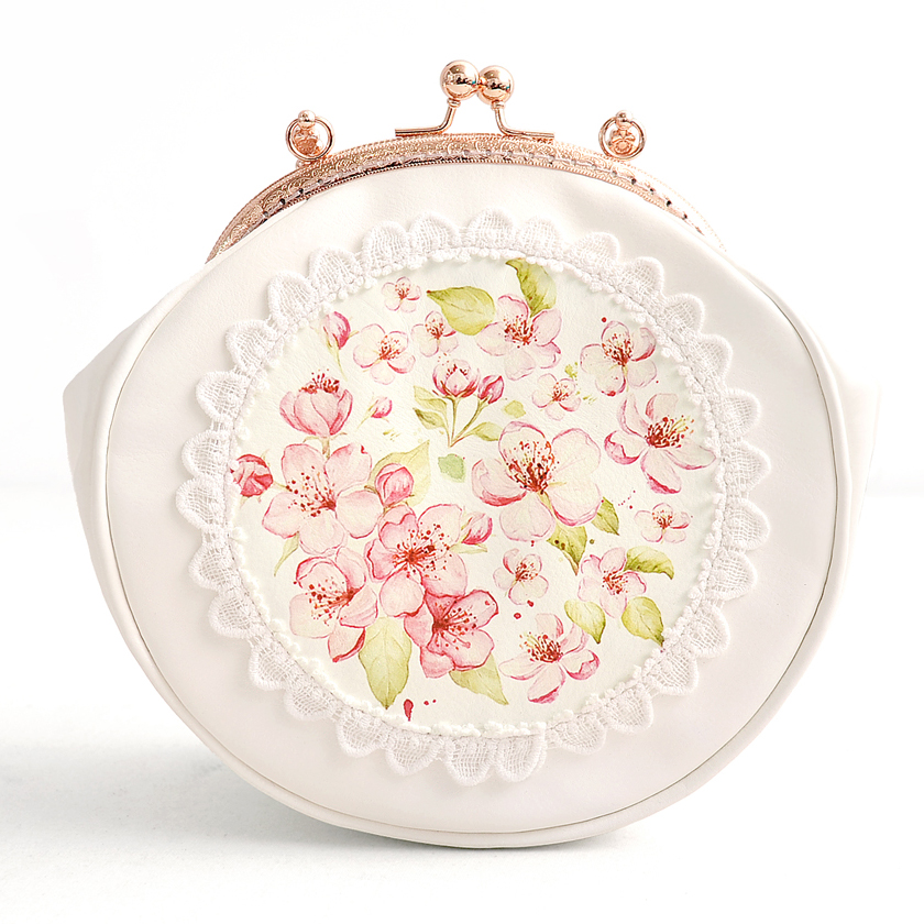 Princess sweet lolita bag Original flowers small round bag refreshing Japanese cherry blossom wrapped gold chain bag CC131 blossom flowers