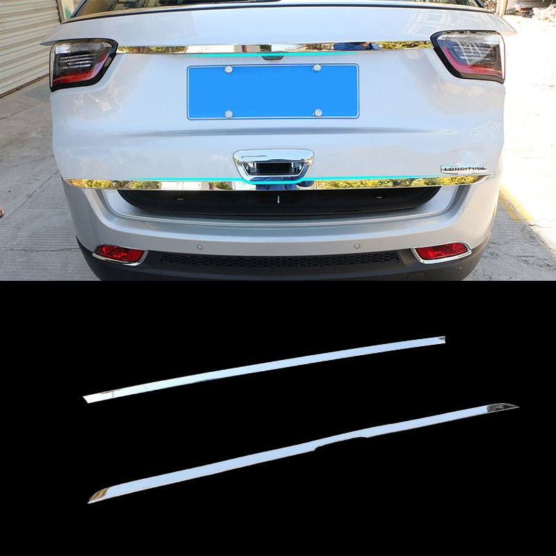 Jameo Auto Accessories for Jeep Compass 2017 2018 Rear Trunk Tailgate Door Tail Bottom Streamer Molding Cover Kit Trim Stickers