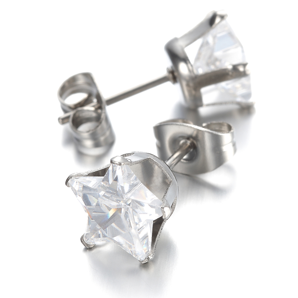 Из нержавеющей Стали Мужские Женские Серьги, шпильки, ясно, звезда, кристалл KE759