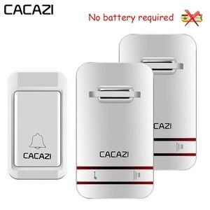 Беспроводной водонепроницаемый дверной звонок CACAZI, светодиодный светильник без аккумулятора, беспроводной звонок, вилка стандарта США, ЕС,...