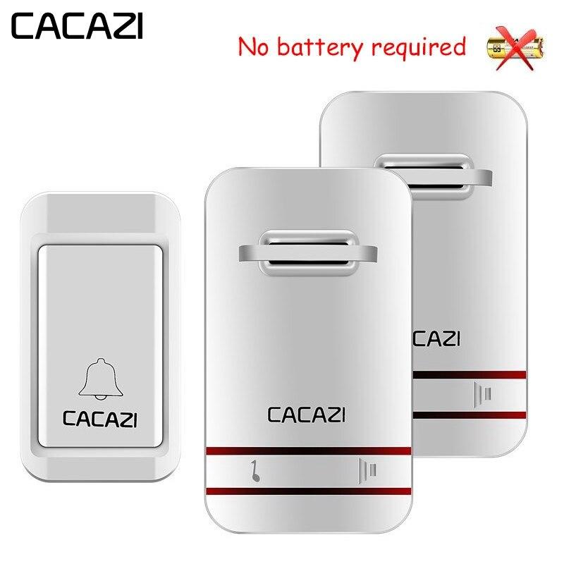 CACAZI Auto-Alimenté Étanche Sans Fil Sonnette LED Aucune Batterie Accueil Sans Fil Cloche UE Plug 38 Anneau 1 Bouton 1 2 3 récepteur