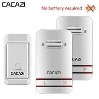 CACAZI автономный водостойкий беспроводной дверной звонок светодиодный свет без батареи Домашний Беспроводной звонок США ЕС Великобритания ...