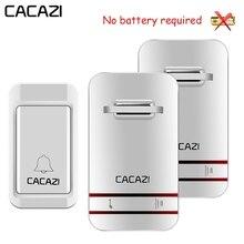 CACAZI Self Powered Wasserdichte Drahtlose Türklingel LED Licht Keine Batterie Startseite Cordless Glocke US EU UK Stecker 1 Taste 1 2 3 empfänger