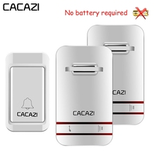 CACAZI Self Powered Waterdichte Draadloze Deurbel LED Licht Geen Batterij Thuis Draadloze Bel US EU UK Plug 1 Knop 1 2 3 ontvanger