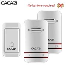 CACAZI Self Powered wodoodporny bezprzewodowy dzwonek do drzwi LED Light brak baterii domowy dzwonek bezprzewodowy US EU UK Plug 1 przycisk 1 2 3 odbiornik