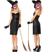 Abbille Cheap Sexy Gothic Witch Costume Women Carnival Adult Cosplay Party Halloween Costumes for Women Black Fancy Dress 2017