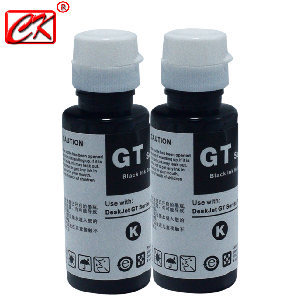 RU 2 Pc Black 100ml Refill Ink Kit Compatible With HP Office Inkjet 3525 4615 4625 5525 6520 6525 GT5810 GT5820 GT51 GT52