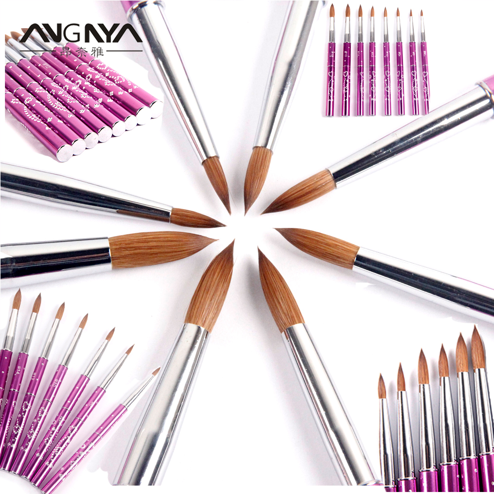 ANGNYA New 1pcs #4#6#8#10#12#14#16#18#20#22 Kolinsky Sable Brush Acrylic  Nail Art Brush Purple Metal Crystal Acrylic Salon