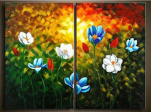 Beautiful modern abstract  art oil painting on canvas 2P flower Painting home decoration (No frame)
