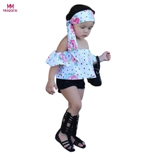 Fashion Cool Toddler Kids Baby Girl Floral Off Shoulder Blouse Tops+Demin Shorts Pants Child Gilrs Clothes Sets
