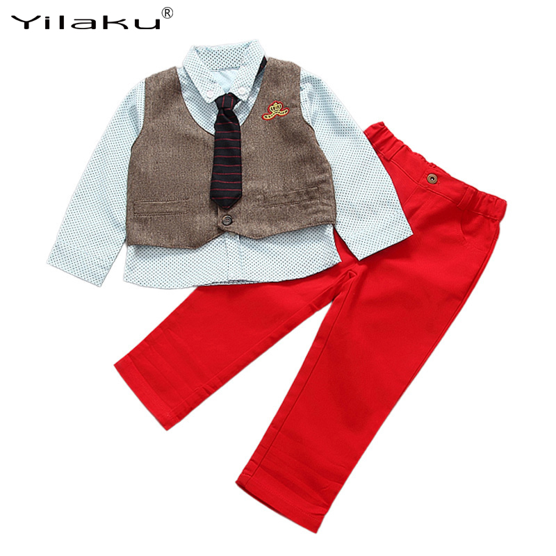 3 Pieces Gentalmen Boys Clothing Sets Kids Long Sleeve Polka Dot Shirt+Vest+Pants With Tie For Weeding Formal Clothing CF394 summer autumn boys clothing sets kids boys shirts vest long pant tie children cotton fore pieces clothing sets for 2 3 4 5 6 7 y