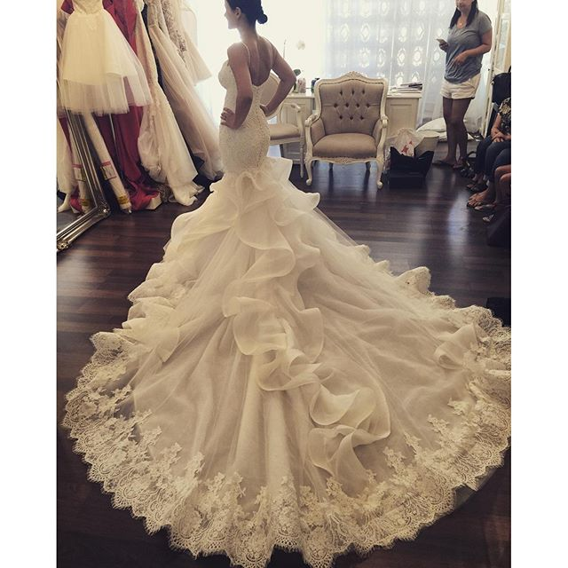 Sexy Mermaid Wedding Dress China Long Tail Real 2016 French Lace Ruffles Country Western Dresses Vestidos Novia Robe In From