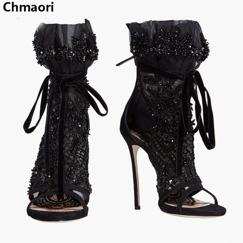 Woman Sexy Black Sandals Peep Toe Ankle Strap High Heel Sandals Cross Lace Up Sandal Shoes Charming Slingbacks Dress Shoes woman beautiful royal blue wedges sandal summer sexy cut outs design charming tassels ankle lace up peep toe female party shoes