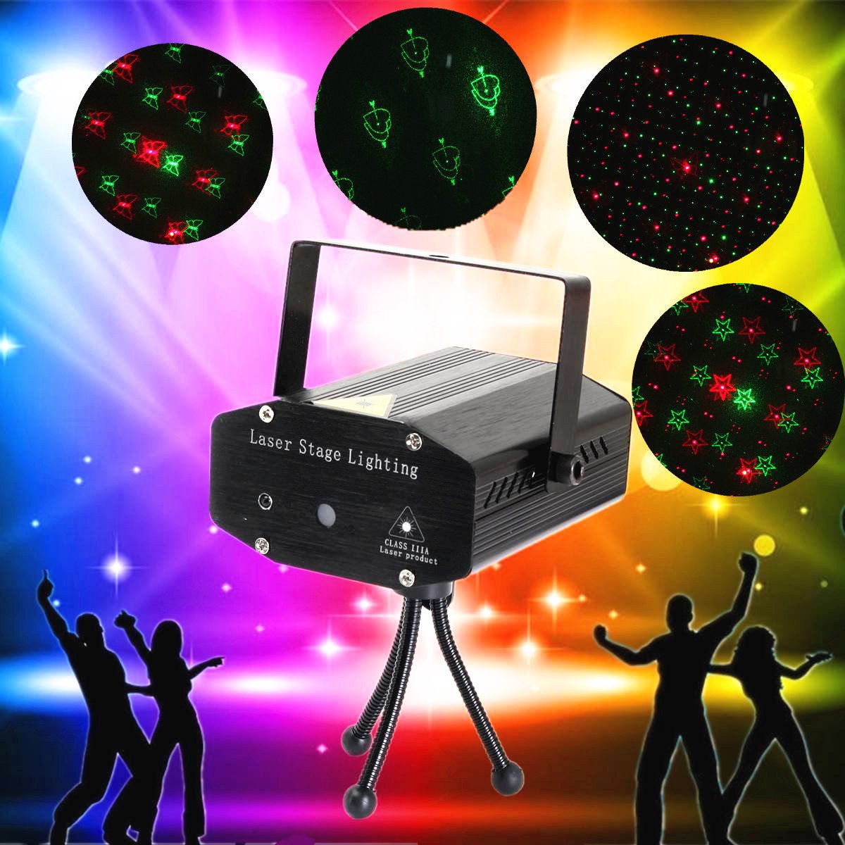 Mini Portable 4 Mode Laser Projector Lights Stage Light DJ Home Christmas Party Holiday Show Stage Lighting Effect led effect show stage lamp for dj ktv bar disco lights laser projector showers light christmas holiday home decoration lighting