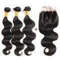Grau 7a Onda Do Corpo Do Cabelo Virgem Peruano Com Fechamento 50g/Bundle Venda Barato Cabelo Humano Weave do cabelo Com Fechos de Renda Com fechamento