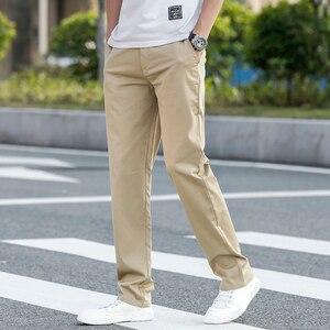Image 4 - 2020 letnie nowe męskie Khaki cienkie spodnie na co dzień Business Fashion Solid Color wysokiej jakości proste spodnie bawełniane męskie marki