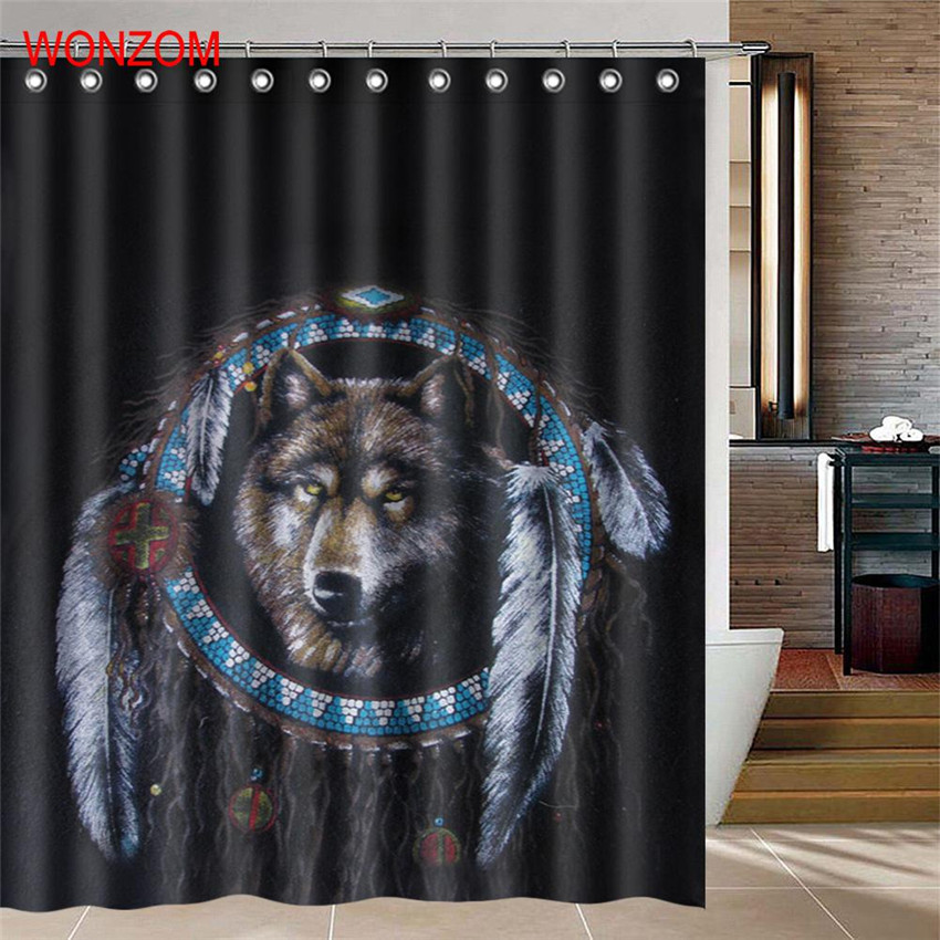 WONZOM 1Pcs Horse Waterproof Shower Curtain Wolf Bathroom Decor Bear  Decoration Animal Cortina De Bano 2017 Bath Curtain Gift In Shower Curtains  From Home ...