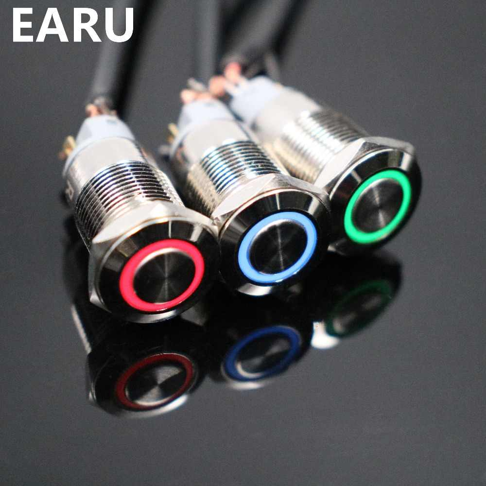 12 Mm Tahan Air Menempel Datar Bulat Stainless Steel Logam Tombol Tekan Saklar Lampu LED Bersinar Klakson Mobil Memperbaiki 3V 5V 12V 24V 220V