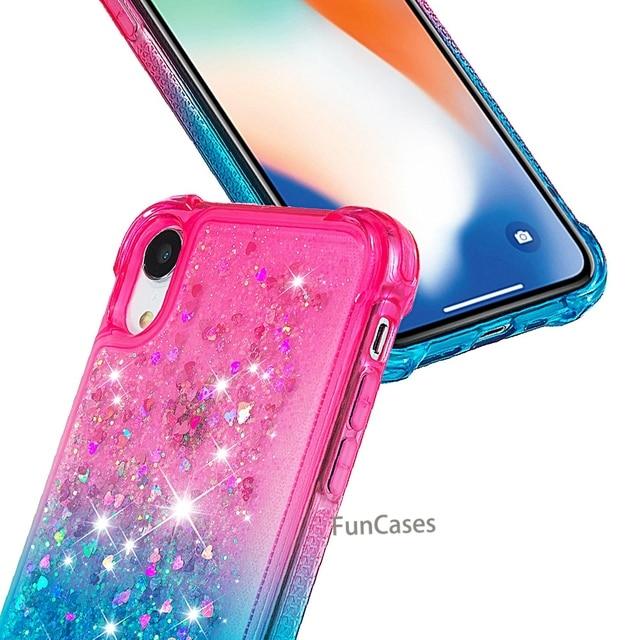 Para o iphone xr líquido duro pc claro escudo do telefone para iphone xr casos de areia movediça capa cute app ícone capa para iphone xr capa 6