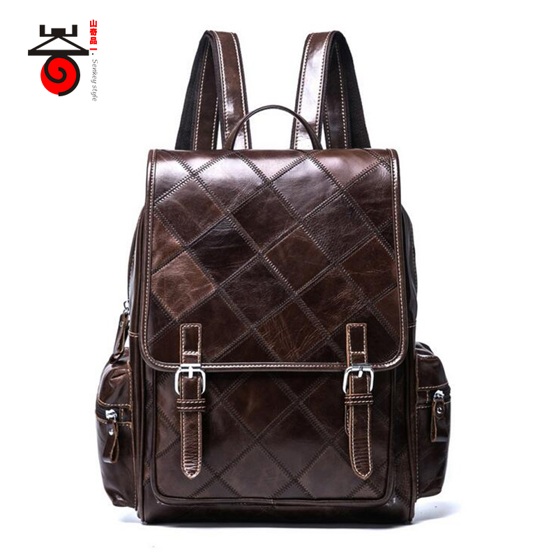 Senkey style Fashion Genuine Leather Backpacks Bag For Men Women Shoulder Bag Teenagers Casual Travel School Bags Laptop Mochila logo messi backpacks teenagers school bags backpack women laptop bag men barcelona travel bag mochila bolsas escolar