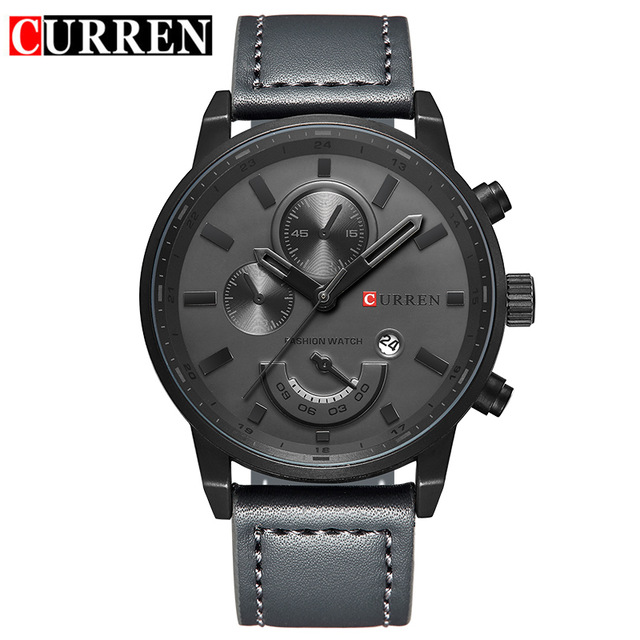CURREN Luxury Brand Relogio Masculino Date Leather Casual Watch Men Sports Watches Quartz Military Wrist Watch Male Clock 8217 new men stainless steel gold watch luxury brand auto date mens quartz clock roman scale sports wrist watches relogio masculino