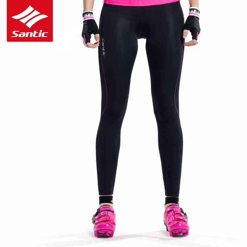 Santic Women Cycling Pants Quick Dry Breathable Padded Downhill MTB Road Bike Pants Long Bicycle Trousers Tights Spring Summer west biking mtb road bike jacket 3d gel padded bicycle pants breathable quick dry cycling clothing bicycle bike jersey pants